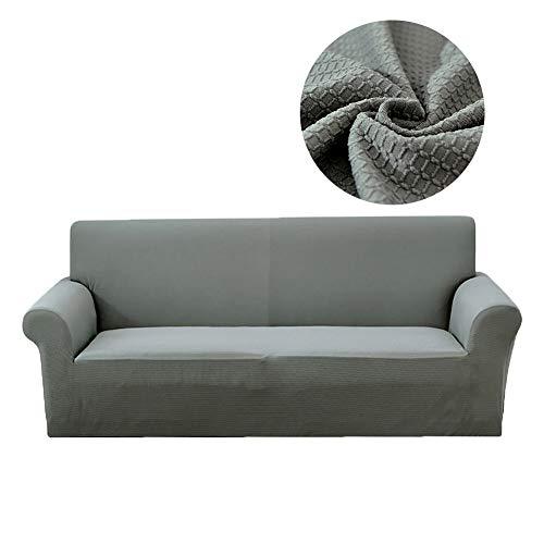 Lanqinglv - Funda elástica para sofá Impermeable de 1/2/3/4 plazas, Funda de sofá Monocolor, Funda para sillón, Antideslizante, Lavable, poliéster, Gris, L(3-sitzer:190-230)