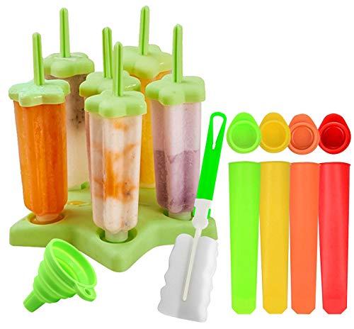 Gyvazla Stampi Ghiaccioli, Riutilizzabile 6 Produttori di Ghiaccioli, 4 Stampo in Silicone, Spazzola di Pulizia e Imbuto Pieghevole, LGFB,FDA e BPA Gratis, per Bambini, Bambini e Adulti (12 Pezzi)