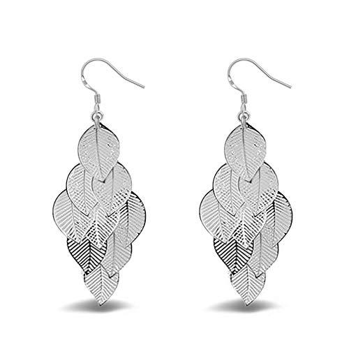 YAZILIND Pendientes colgantes de hoja de plata Vintage Bohemio Mujeres Gancho de pescado Pendientes Dainty Shinning declaración elegante joyería