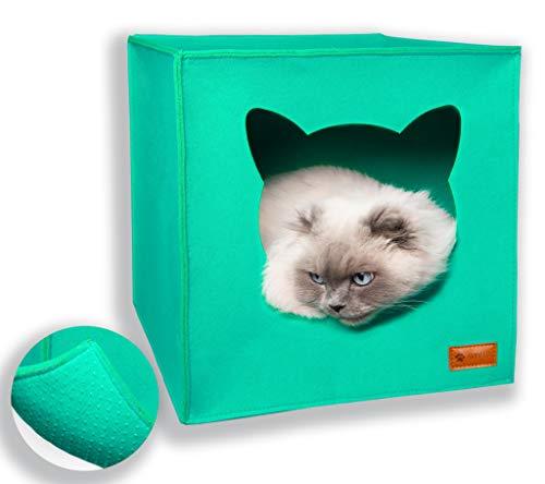AVEELO Cueva para gatos de fieltro con suelo antideslizante, apta para estantería IKEA Kallax y Expedit, con cojín extraíble, cueva de fieltro para gatos y perros pequeños, color turquesa