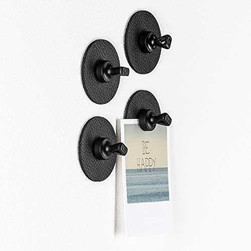 silwy Magnet-Pins mit Metall-Nano-Gel-Pads, wiederverwendbar, flexibel einsetzbar, perfekt für Notizen, Karten und Poster (Black)