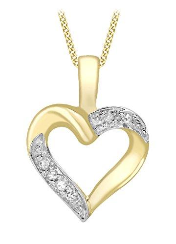 Carissima Gold Cadena con colgante de mujer con oro de 9 quilates, diamante, 46 cm
