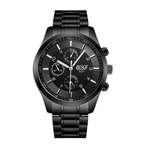 HBR Reloj Correa de Acero Inoxidable Negro Reloj de los Deportes de los Hombres de los Deportes Luminoso Impermeable del Reloj de Cuarzo Accesorios de Moda