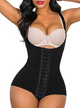 SHAPERX Shapewear for Women Tummy Control fajas colombianas Butt Lifter Body Shaper front hooks,SZ7202-Black-XL