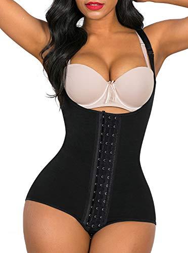 SHAPERX Shapewear for Women Tummy Control fajas colombianas Butt Lifter Body Shaper front hooks,SZ7202-Black-M