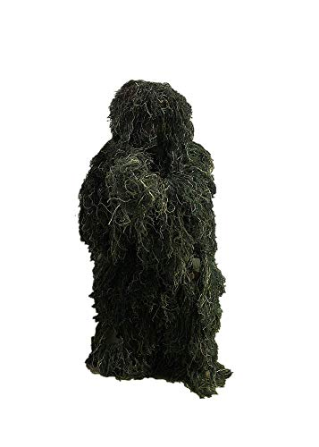 HaoFst Ghillie Suit Camo Woodland Camouflage Forest Hunting 4-Piece + Bag