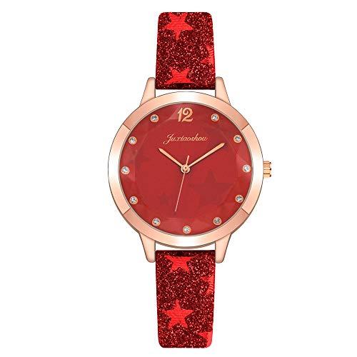 Ladies Analog Quartz Wrist Watches, Fashion Leather Band Bracelet Watch with Rhinestone Scale, Minimalist Watches Elegant Holiday Birthday Valentine's Day Gifts for Women Girls (D)