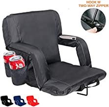 XGEAR Upgrade Reclining Stadium Seat, Portable Bleacher Chair with Extra Thick Padded Cushion, Hook w/Two-Way Zipper, Back and Armrest Support, 4 Pockets, Cup Holder, Adjustable Straps (Black)