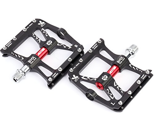 Alston Bike MTB Pedal, Ultra Strong CR-MO Material 9/16' Spindle, Aluminum 6061# CNC Black Body, CR-MO Spindle, 3 pcs Ultra Sealed Bearing