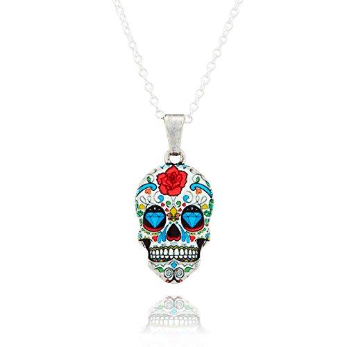 Selia Halskette aus Messing mit Totenkopf Schädel Anhänger Schmuck mit Bunten Floralen Ornamenten ideal für Dia de los Muertos Trend für Damen & Herren