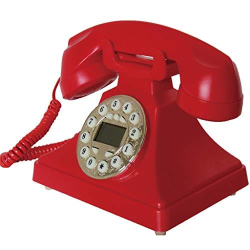 ZARTPMO MarcacióN con El BotóN del TeléFono Retro, Oficina De Moda Creativa Cableada Vintage TeléFono Retro Vintage - Rojo