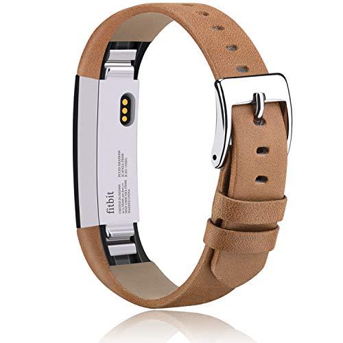 Vancle Kompatibel für Fitbit Alta HR Armband und Fitbit Alta Armband, Weiches Lederarmband Ersatzarmband für Fitbit Alta/Fitbit Alta HR (Braun)