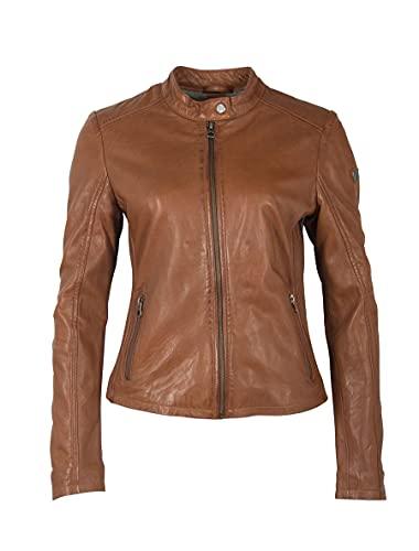 Gipsy Klassische und kurze Damen Biker Lederjacke Übergangsjacke mit Stehkragen - GWShana NSLVV (Cognac, XL, x_l)