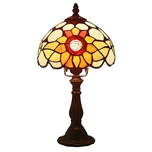 Lámpara De Mesa De 8 Pulgadas, Estado Tiffany Pastoral Creativo Sol Flores De Vidrio Tierra Noche De Lectura De Lectura para Sala De Estar Dormitorio