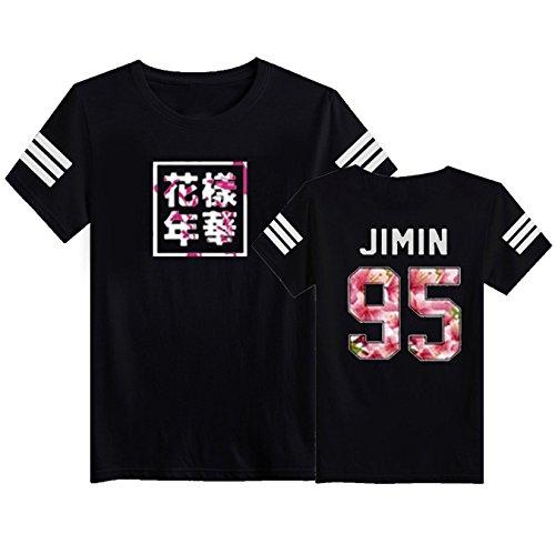SERAPHY Camiseta Unisex KPOP Camiseta Estampada Young Forever Bloom Floral Suga Jin Jimin Jung Kook J-Hope Rap-Monster V negro-95j S
