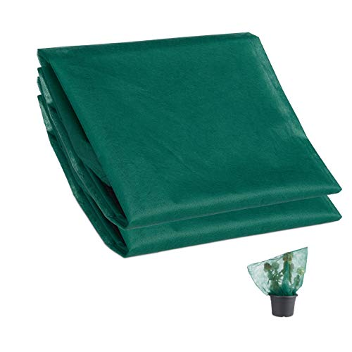 Relaxdays Teli Antigelo per Piante Set da 2, Tessuto Non Tessuto, per Alberi, Arbusti e Fiori, con Cordoncino, Verde, HxL 80 x 120 cm