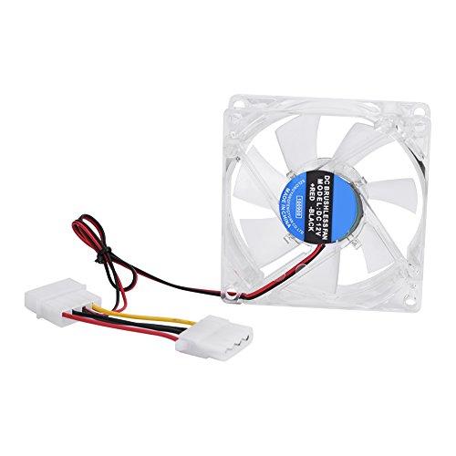 Richer-R Ventilador de enfriamiento LED, 80mm Luz LED 12V 4Pin Silenciar Caja de PC Ventilador de enfriamiento Refrigerador de computadora con una Interfaz de alimentación de 4 Pines(Azul)