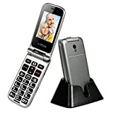 artfone 3G Senior Flip Phone Big Button Mobile Phone for Elderly Unlocked Single SIM Free Pay As You Go Phone Wireless FM, Torch, Talking Number, SOS Button - with Charging Cradle