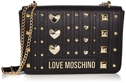 Love Moschino Borsa PU, Bolsa de mensajero para Mujer, Negro (Nero), 19x28x6 centimeters (W x H x L)