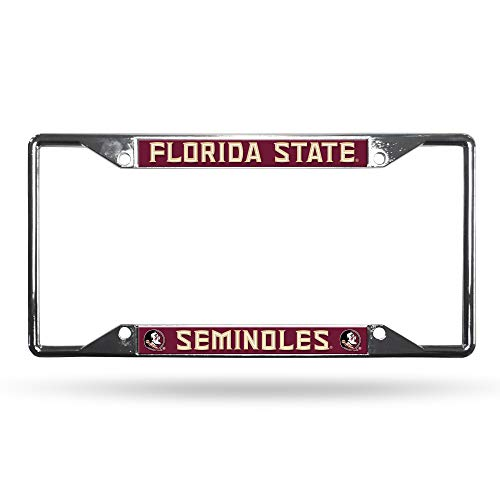 Rico Industries Unisex's NCAA Florida State Seminoles Easy View Chrome License Plate Frame, Silver, 6 Inches x 12 Inches