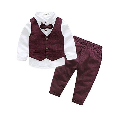 Boys 3Pcs Clothing Sets Cotton Long Sleeve Bowtie Shirts +Vest +Pants Casual Suit Red