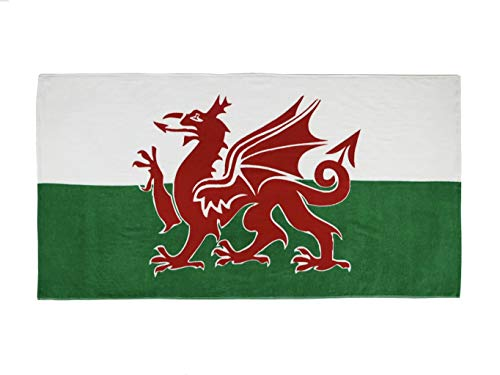 ffs Badetuch, 100 % Baumwolle, bedruckt mit walisischer Flagge