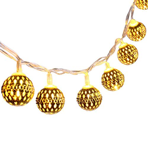 SOLUSTRE LED Globe String Lights, Decorative Moroccan Orb, 30 Big Golden Metal Balls, Bright Warm Lights, Battery Powered (Gold)