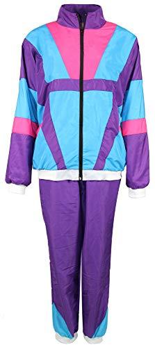jaren '80 trainingspak kostuum voor mannen - paars turquoise roze - maat S-XXXXL - joggingbroek Assi, maat: M