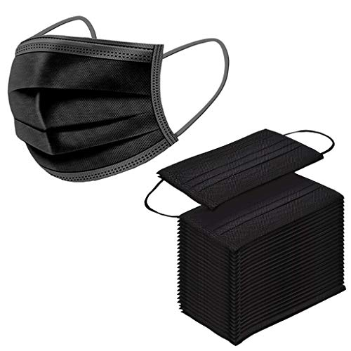 Herren Damen Schwarz Mundschutz Einweg 3-lagig Atmungsaktiv Einfarbig Erwachsene Mundbedeckung, Unisex Disposable Face Cover, Outdoor Anti-Staub Schutz Accessory Bandana Loop (Schwarz, 50pcs)