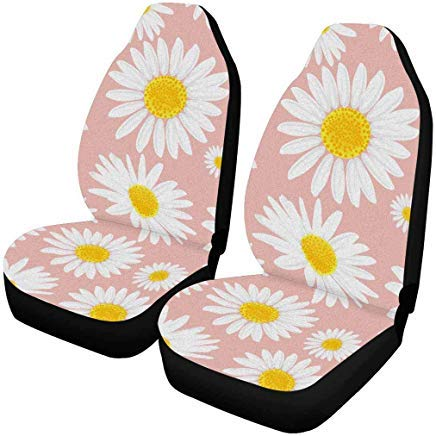 INTERESTPRINT Daisies Flowers Floral Auto Seat Covers Full Set of 2, Car Seat Covers Front Seats Only Universal Fit