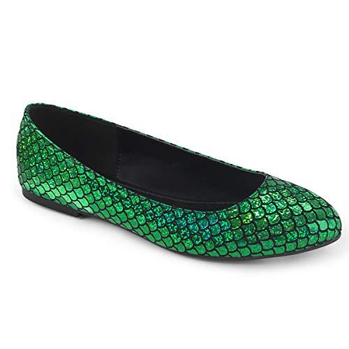 Funtasma Women s MERMAID-21 Pointed Toe Ballet Flat Green 9