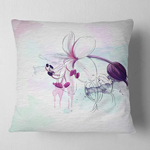 Design Artdesignart Beautiful Purple Flower With Splashes Floral Throw Living Room Sofa Pillow Insert Cushion Cover Printed On Both Side 26 In X 26 In Dailymail