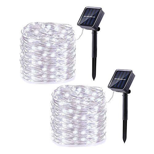 Joomer 2 Pack Solar String Lights, 33ft 100LED 8 Modes Outdoor String Lights, Waterproof Solar Fairy Lights Rope Lights for Outdoors, Patio, Garden, Yard, Party, Wedding, Tree Decorations (White)