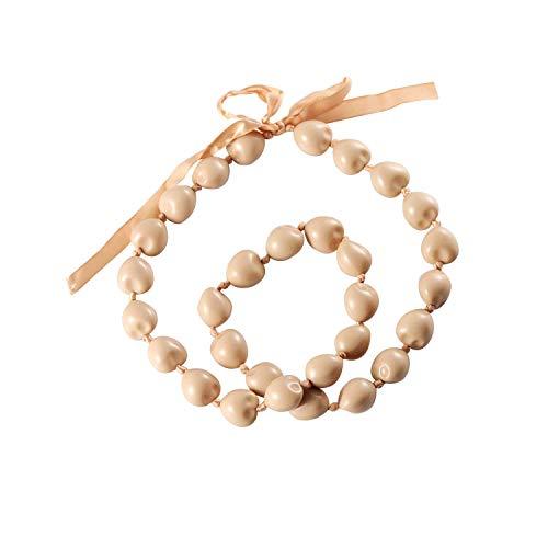 KUIYAI Hawaiian Kukui Nut Necklace with Chunky Heart-Shaped Beads Ribbon Tie Closure (30 Beads LT Brown)