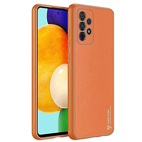 TOOBY Custodia in Vera Pelle della Serie Metro Compatibile con Samsung Galaxy A52 5G/4G Cover, Custodia Protettiva in Pelle Sottile, Supporta la Ricarica Wireless, Resistente ai Graffi (Orange)