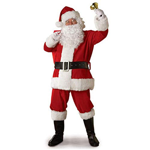 Christmas Santa Claus Costume with Beard Adult Men Deluxe Plush Santa Suit Outfit Set with Beard Flannel Complete One Size Wine Red 7 Pcs (White, XXL)