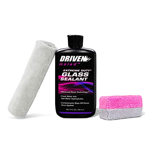 DRIVEN Extreme Duty Glass Sealant Kit - Salt Water and Fresh Water Hydrophobic/Contaminants Clean Off Easier Once Applied/Includes Sealant, Sponge and Towel / 8 Fluid Ounces