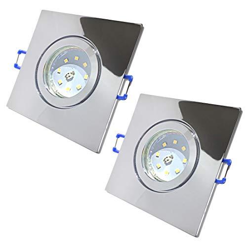 LED Bad Einbauleuchten 230V inkl. 2 x 5.5W SMD LM Step Dimmbar Farbe Chrom IP44 Einbaustrahler Neptun Eckig 4000K