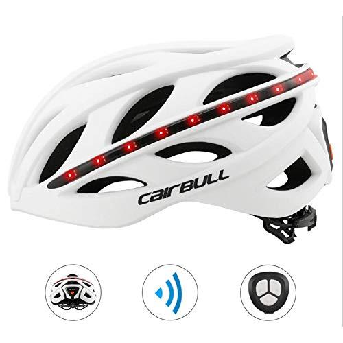 Letway perfecti Erwachsene Fahrradhelm Wasserdicht Bluetooth Helm Mit Funkfernbedienung, Rücklicht, Blinker, Unisex, Weiß (Ca. 54-61 cm)