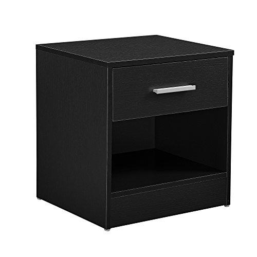 [en.casa] Eleganter Nachttisch mit Schublade und Ablagefach Nachtschrank Schwarz