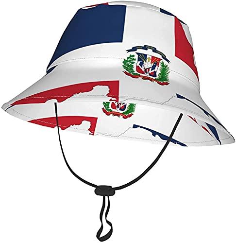 KEROTA Sombrero de cubo con bandera de mapa de la República Dominicana para bebés y niños pequeños, sombrero de verano transpirable para playa 2-4T
