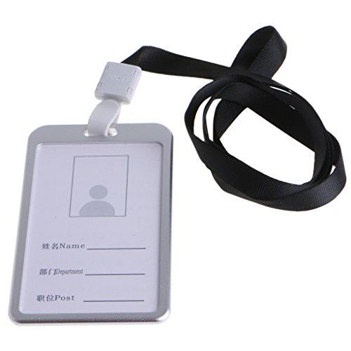 FKY aluminiumlegering ID creditcard badge houder cover met hals nylon nekkoord riem 9,8 * 5,6 * 0,3cm/3,86 * 2,20 * 0,12in zwart