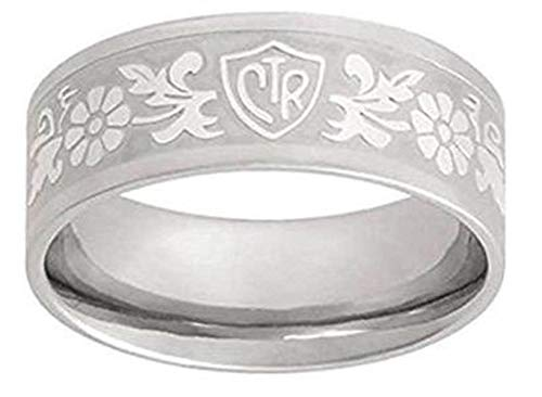 J125 Size 10.5 Daisy Flower Scroll Stainless Steel CTR Ring Mormon LDS Unisex One Moment In Time