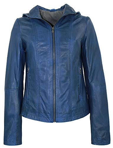 MADDOX - Damen Lederjacke Kapuze Lammnappa royal blau Größe 40