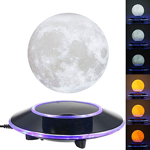 VGAzer Magnetic Levitating Moon Lamp Night Light Floating and Spinning in Air Freely with Gradually Changing LED Lights Between Yellow and White for Home,Office Decor,Unique Holiday Gifts,Night Light