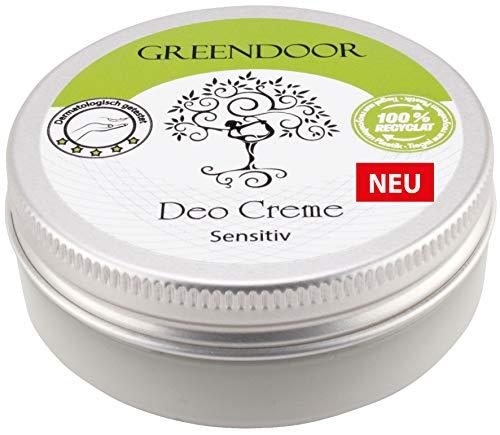 GREENDOOR Deo Creme Sensitiv 50ml, ohne Parfum, ohne Aluminium-Salze, vegan, Tiegel aus 100{e3424e297daeca7b920ae5e54afb01072924e02c901a8c9925fb09e038999599} Altkunststoff, mit Bio Kokosöl virgin, Bio Kakaobutter virgin, wirksames natürliches Deodorant