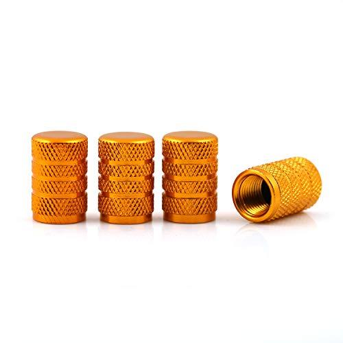 DM Autoteile Aluminium Auto Ventilkappen 4-er Set versch. Farben mit Dichtung (Gold/Orange)
