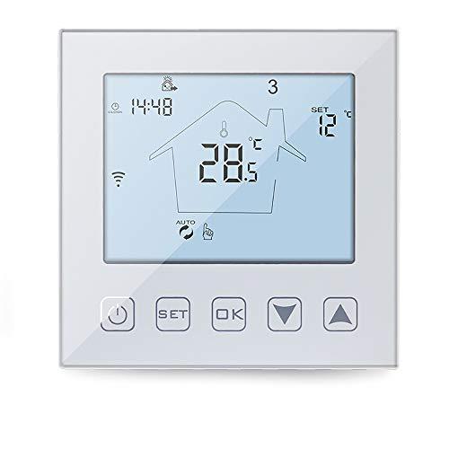 KETOTEK Fußbodenheizung Thermostate WiFi für Warmwasser 3A, Alexa Echo/Google Home/IFTTT/Tuya Kompatibel, Intelligente Raumthermostat, Programmierbar Warmwasserbereiter Weiß