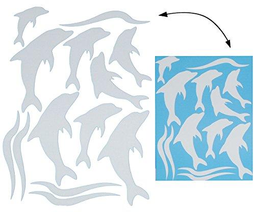 alles-meine.de GmbH 13 TLG. Set _ XL Fensterbilder -  Silber glänzende Delfine  - Sticker Fenstersticker Aufkleber - selbstklebend + wiederverwendbar - Fensterbild / z.B. für F..