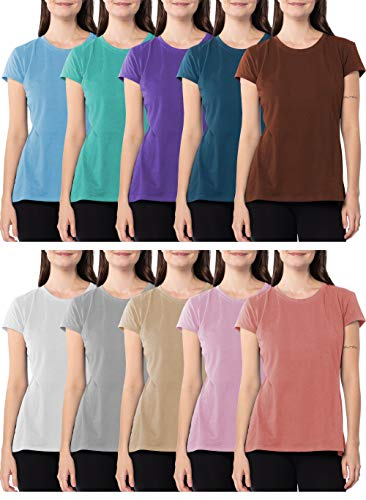 Sexy Basics Women's 5 Pack & 10 Pack Casual & Active Basic Cotton Stretch Color T Shirts (10 Pack - Wow Solid Blast, Large)